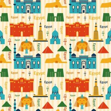 Landmarks of Egypt seamless pattern