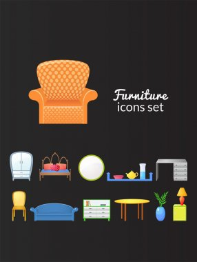 Set of icons furniture isolated