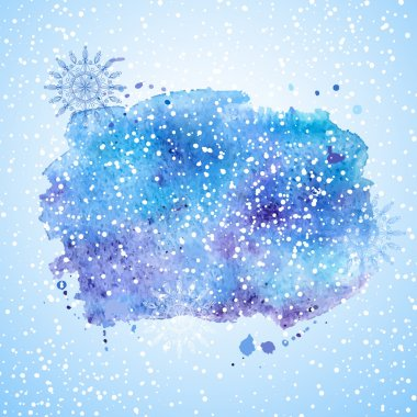 Watercolor background with splashes and snow