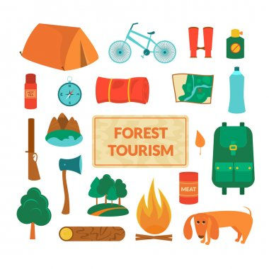 Camping equipment, icons set in flat style