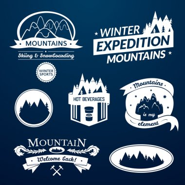 Mountain logos and labels set