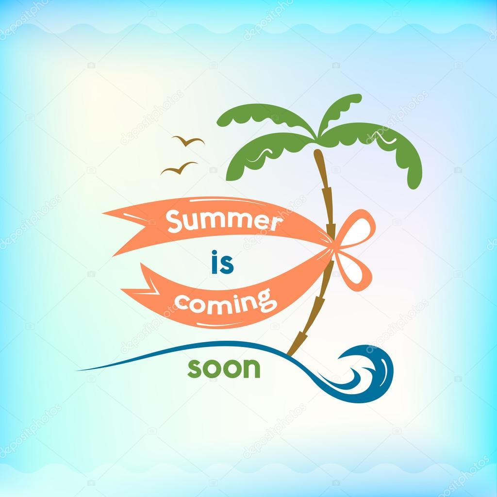 Elegant Summer Is Coming Soon Logo, Retro Typography, Sea And Beach Logo On Water  Background U2014 Vector By Meowudesign