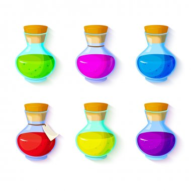 Bottles with multi-colored liquids