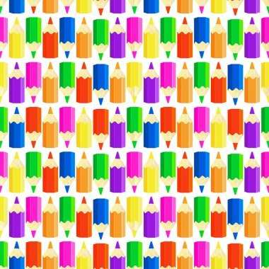 Pattern with many colorful pencils