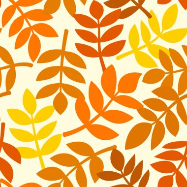 Simple background with leaves of autumn plants randomly arranged, rowan branches in different shades of orange, vector seamless pattern clip art vector