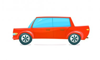 Red car side view in cartoon style, vector illustration stock vector