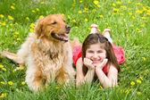 Fényképek kislány és a kutya