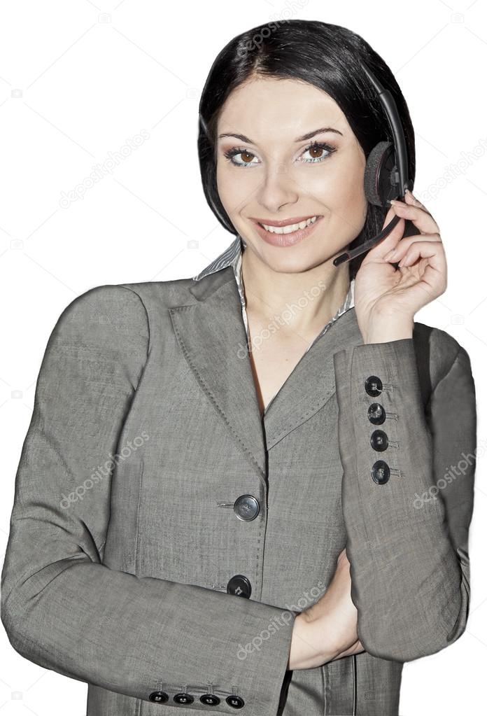 business and office concept - friendly female helpline operator