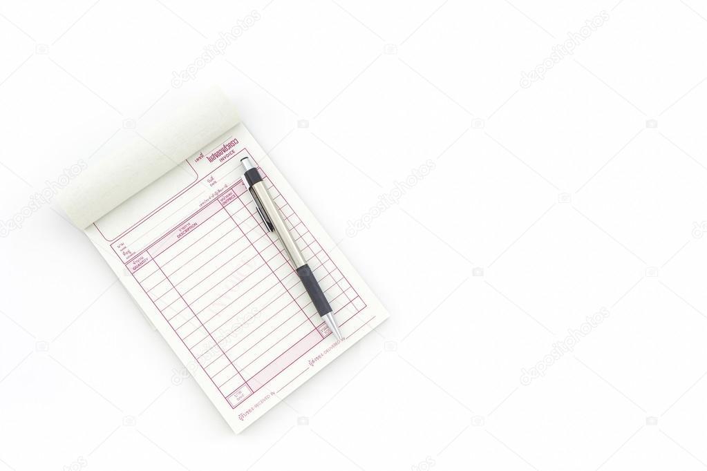 Rechnung-Buch die leeren Seite mit Stift zu öffnen — Stockfoto ...