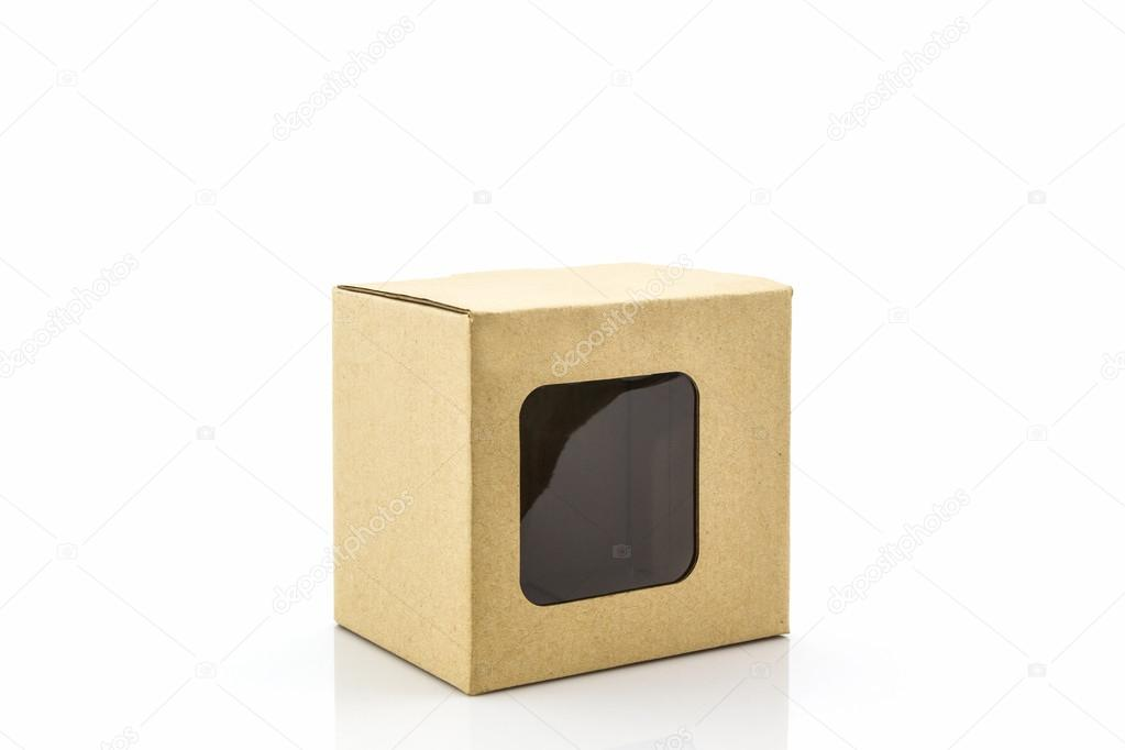 Brown Paper Box With Transparent Window On White Background Photo By Amnachphoto