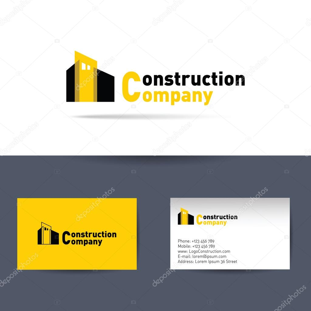 Construction company. Business card template. — Stock Vector ...