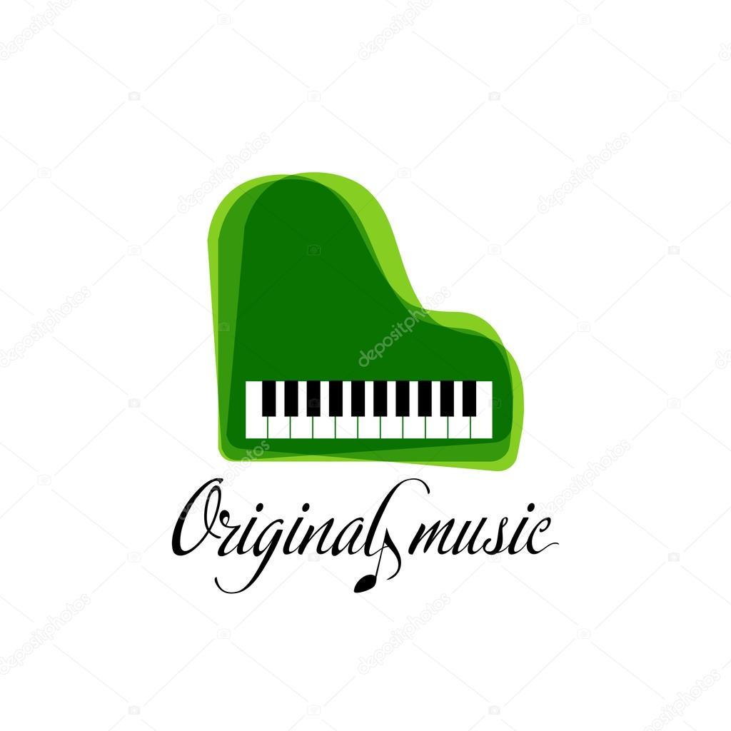 Logotipo de piano la música verde. Logotipo de jazz. Plantilla de la ...