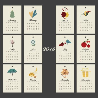 Unusual calendar 2015 year design with symbols month, English, Sunday start