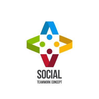 Social Teamwork concept.Circle of friends. Network Logo design.