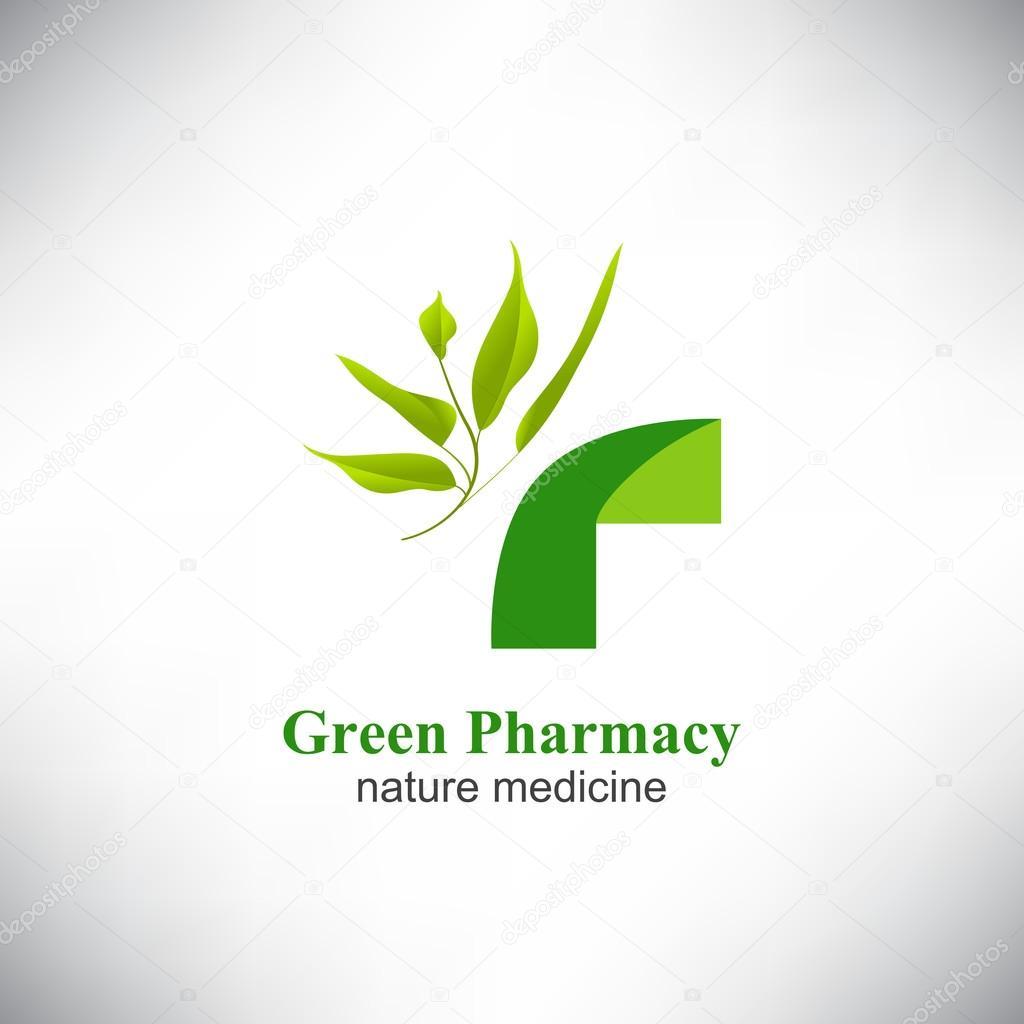 Farmacia verde. Médico Cruz verde — Vector de stock