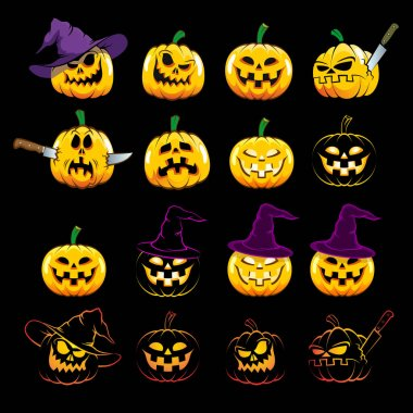 Halloween pumpkins with different emotions. Set Halloween symbols in different versions. icon