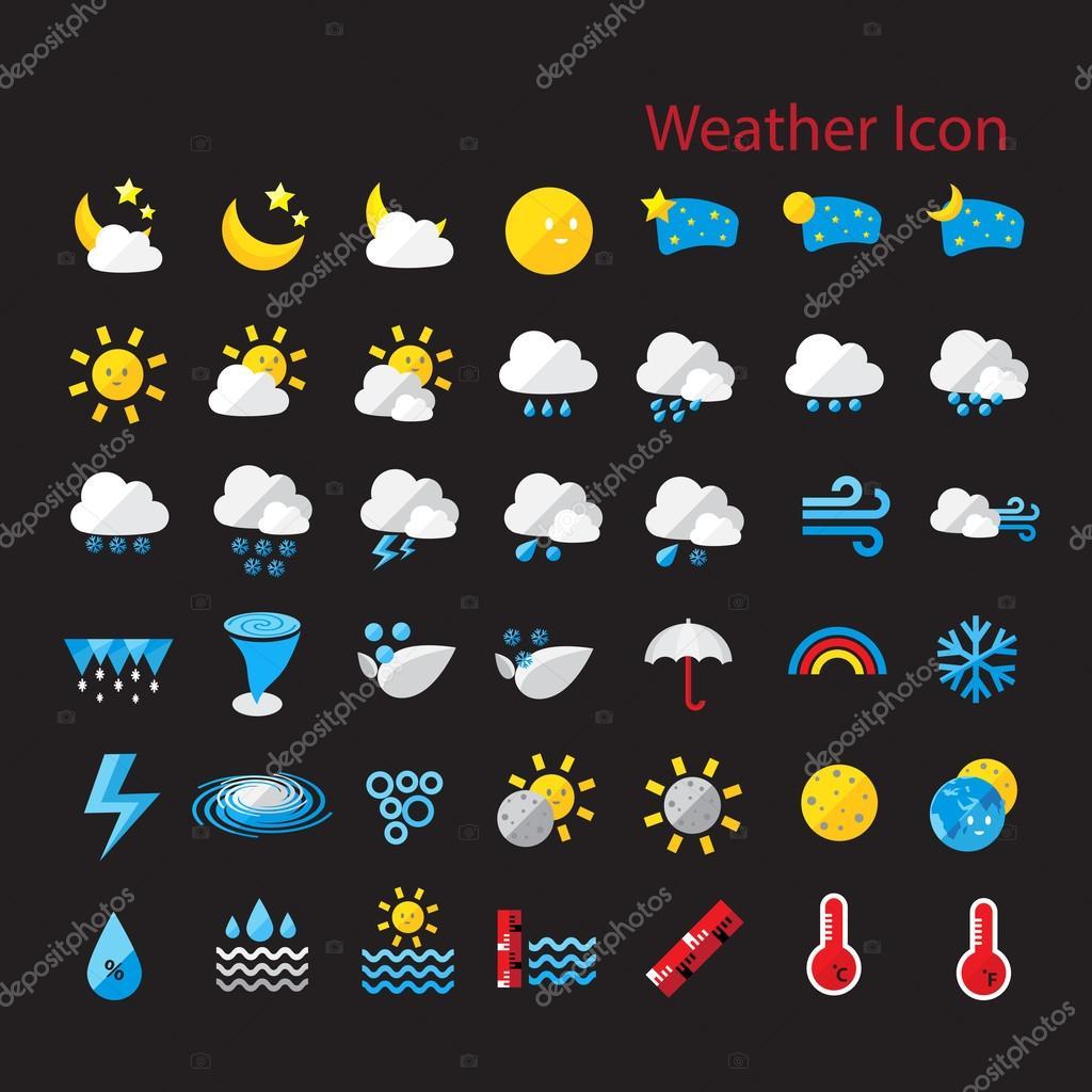 Flat style weather icon set