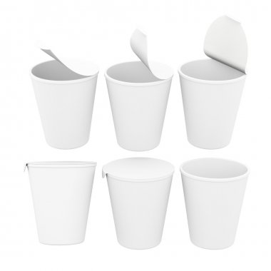 White blank label  food cup with foil lid,  clipping path includ