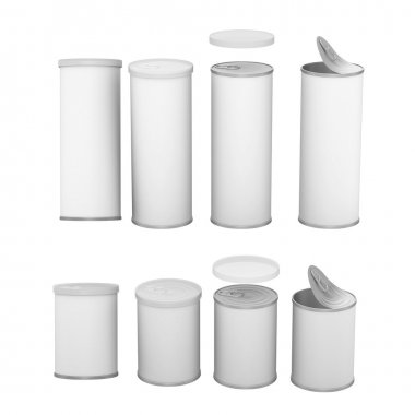 White blank label snack can with pull tab and cap, clipping path
