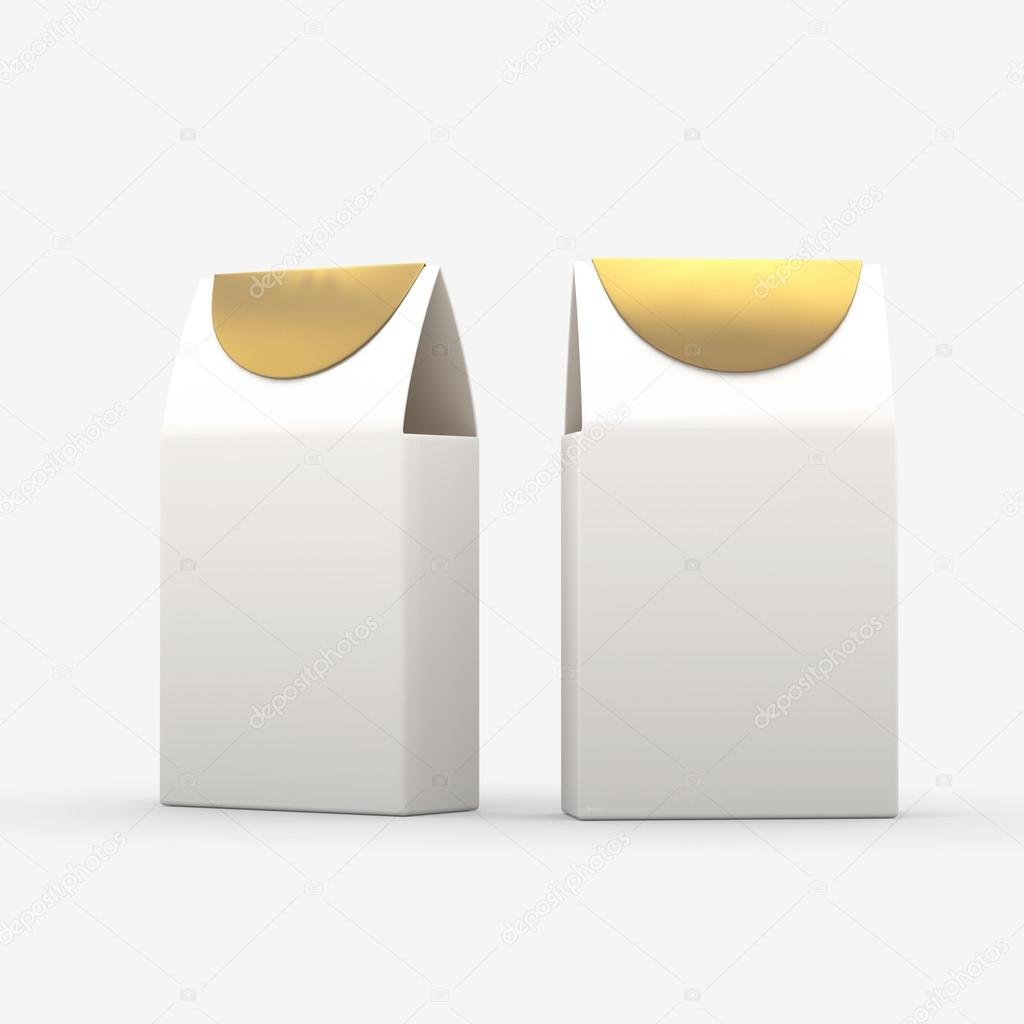 White and gold paper food box packaging with clipping path