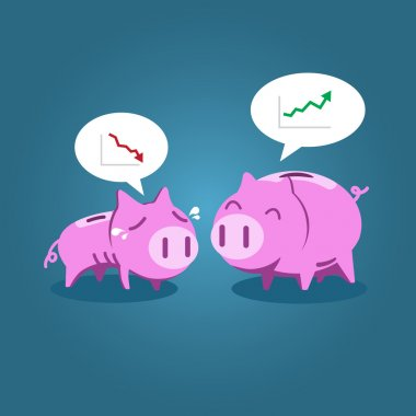 Fat and tiny piggy bank talking about financial situation
