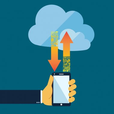 Flat style cloud computing concept with mobile phone