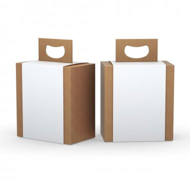 Brown paper box with white wrap and handle packaging,clipping pa