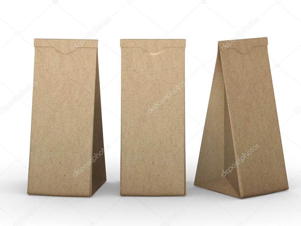 7b244b52e4 Brown διπλωμένο χαρτί τσάντα με διαδρομή αποκοπής — Φωτογραφία ...