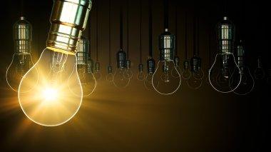 Light bulb animation. swing glow rising