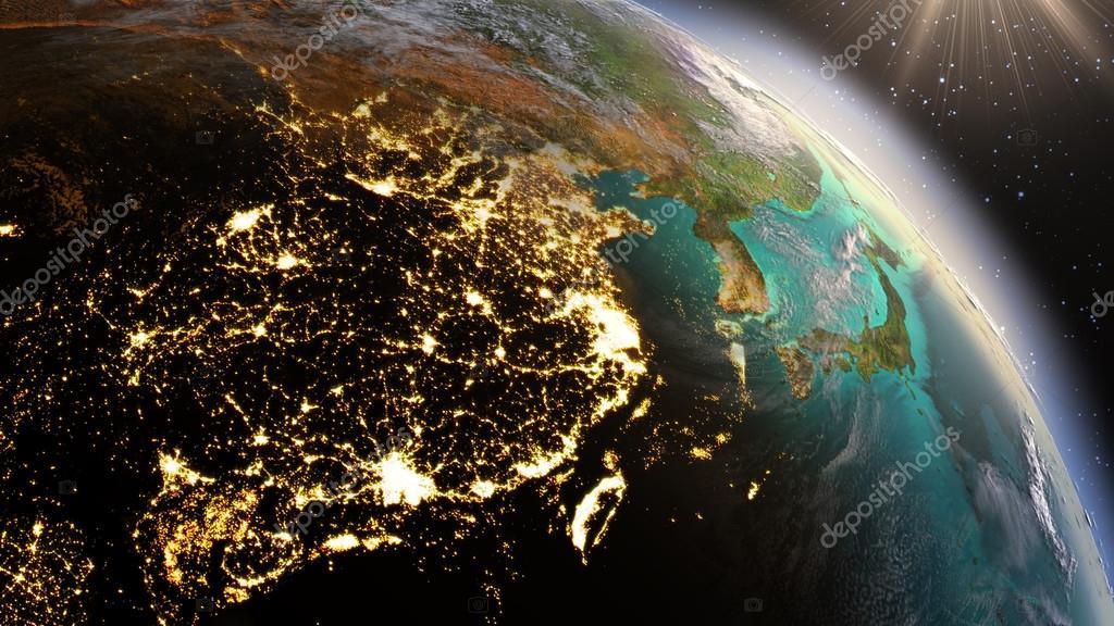 Foto Satelital Planeta Tierra Planeta Tierra Noche Y Amanecer