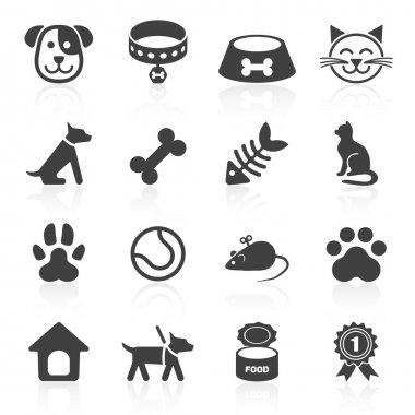 Trendy pet icons isolated on white. Vector elements clip art vector