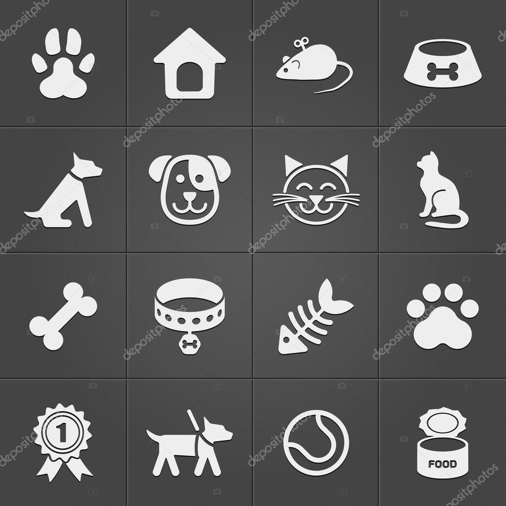 Cute pet icons on black. Vector