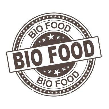 100 bio food label vector, painted round emblem icon