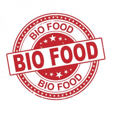 100 bio food label vector, painted round emblem icon