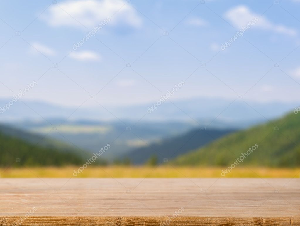 Table top with natural background