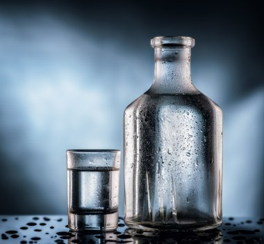 bottle of vodka and glass