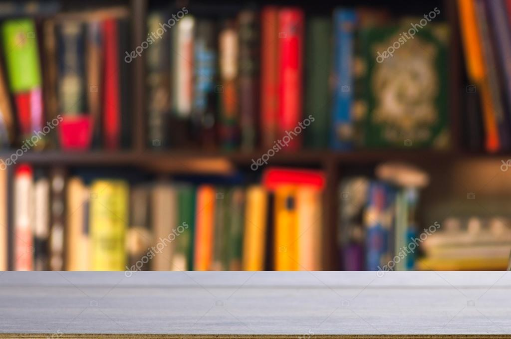 Wooden Table With Bookshelf Stock Photo