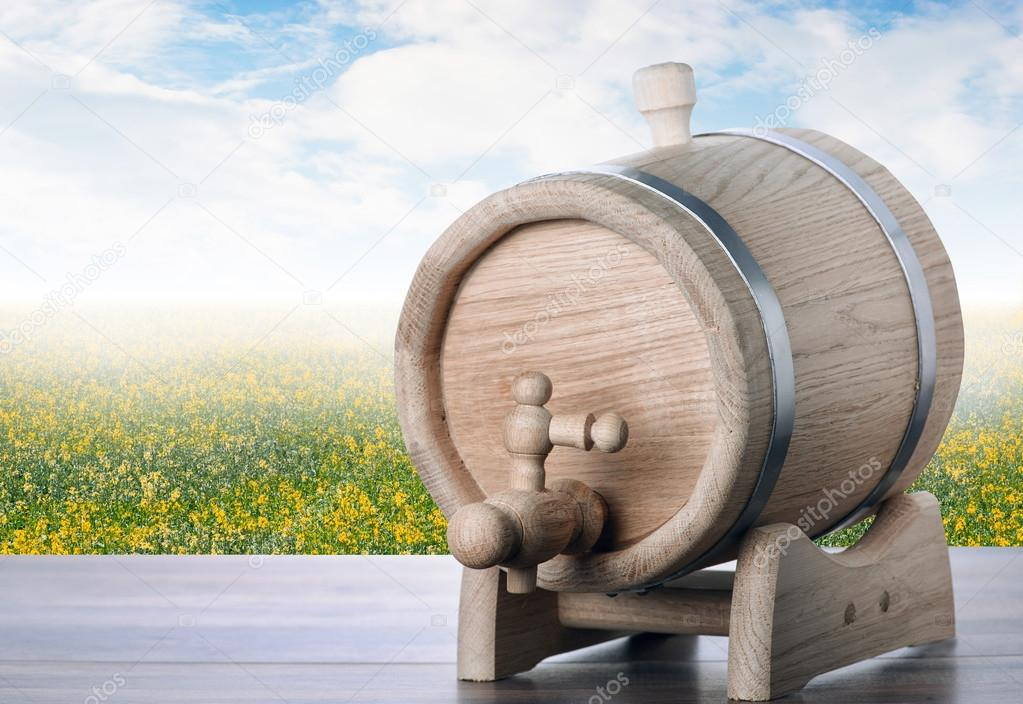 Beer barrel on table