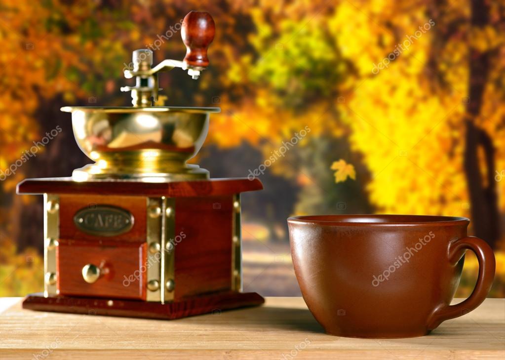 Coffee break in autumn park