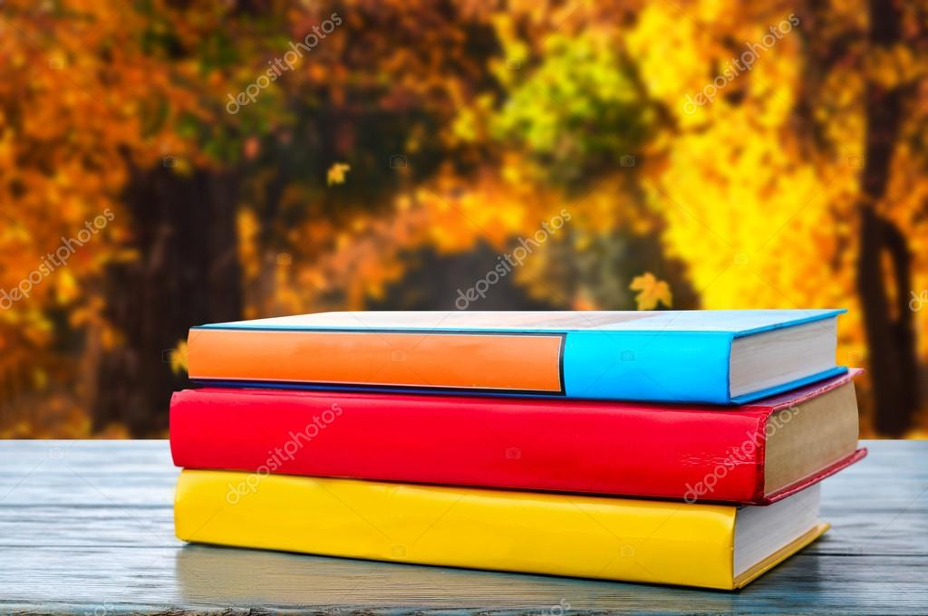 books in the autumn park