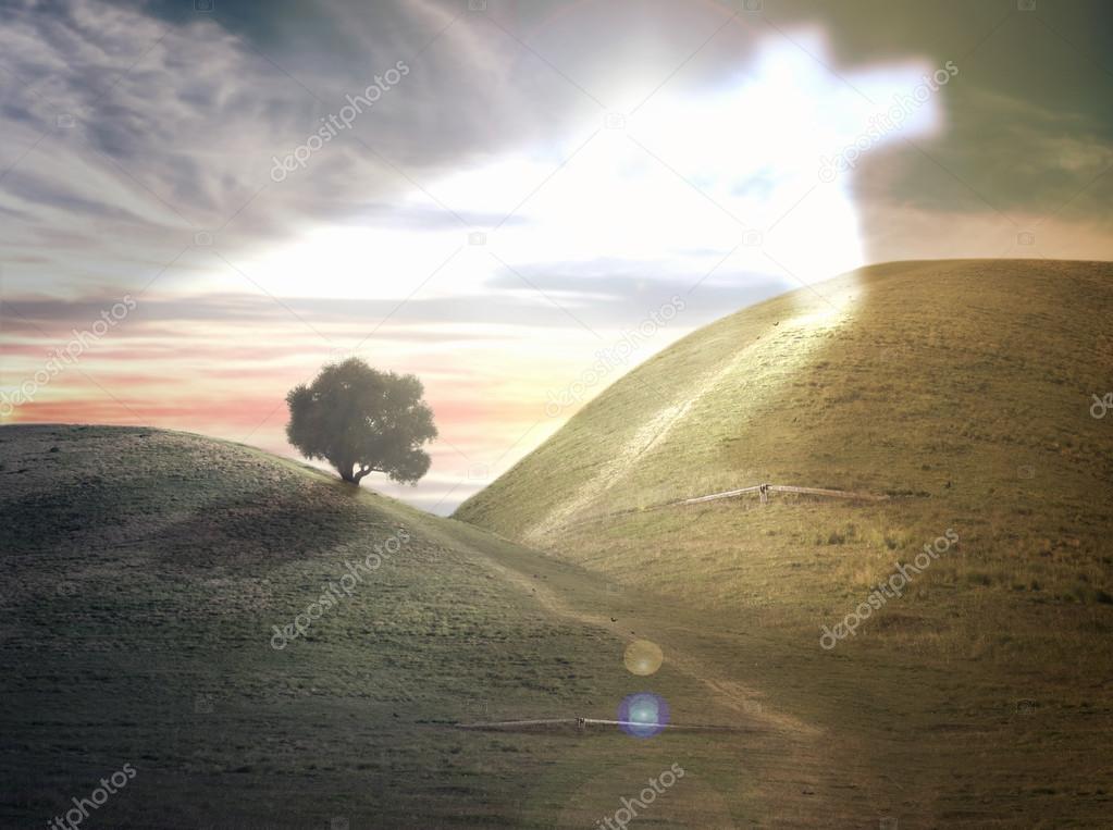 The phenomenon of cross on hill