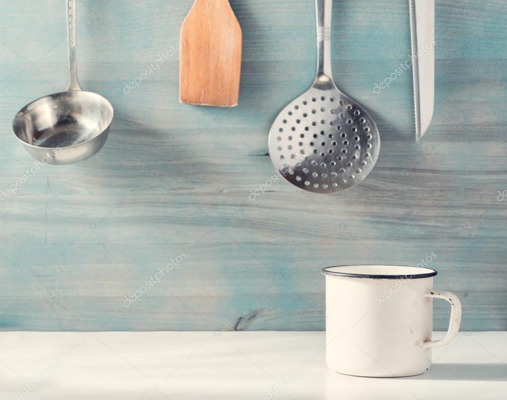 old mug on kitchen table — Stock Photo © olegkrugllyak #98701064