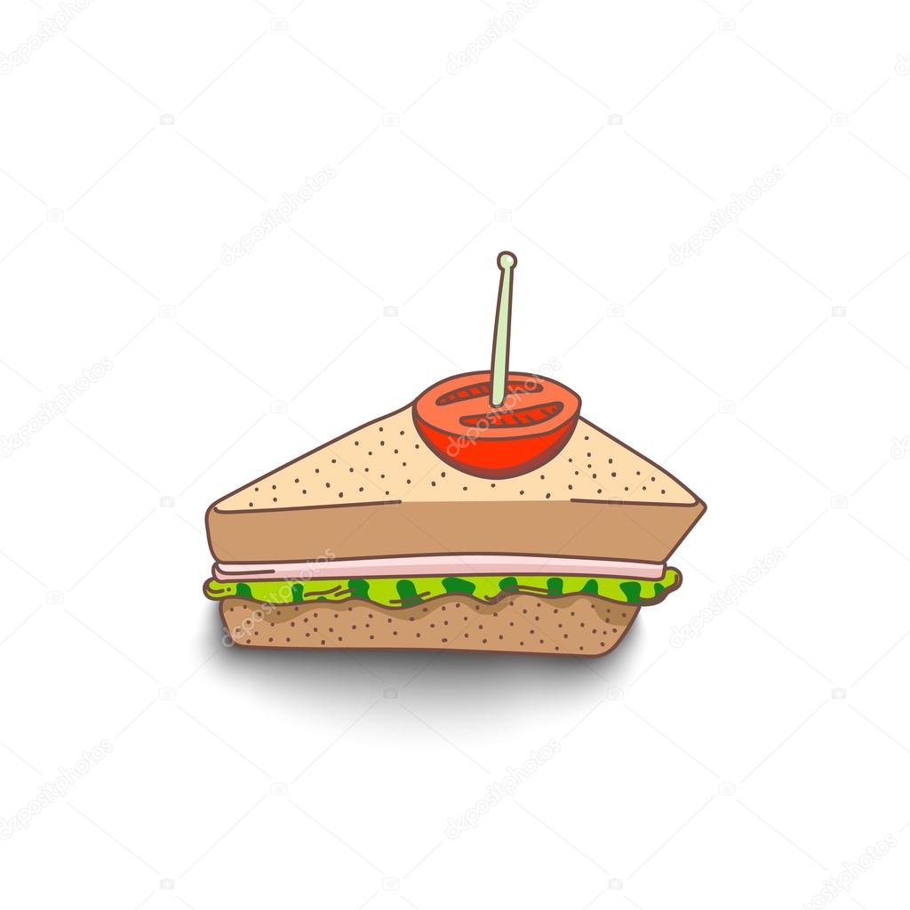 Cute Hand Drawn Cartoon Style Sandwich With Shadow On White
