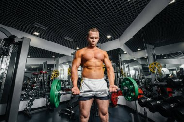 A young athletic guy is engaged in fitness in the gym. Fitness, bodybuilding