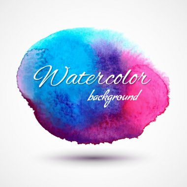 Vector abstract watercolor background for textures and backgrounds. Hand drawn watercolor backdrop, stain watercolors blue and pink on wet paper.