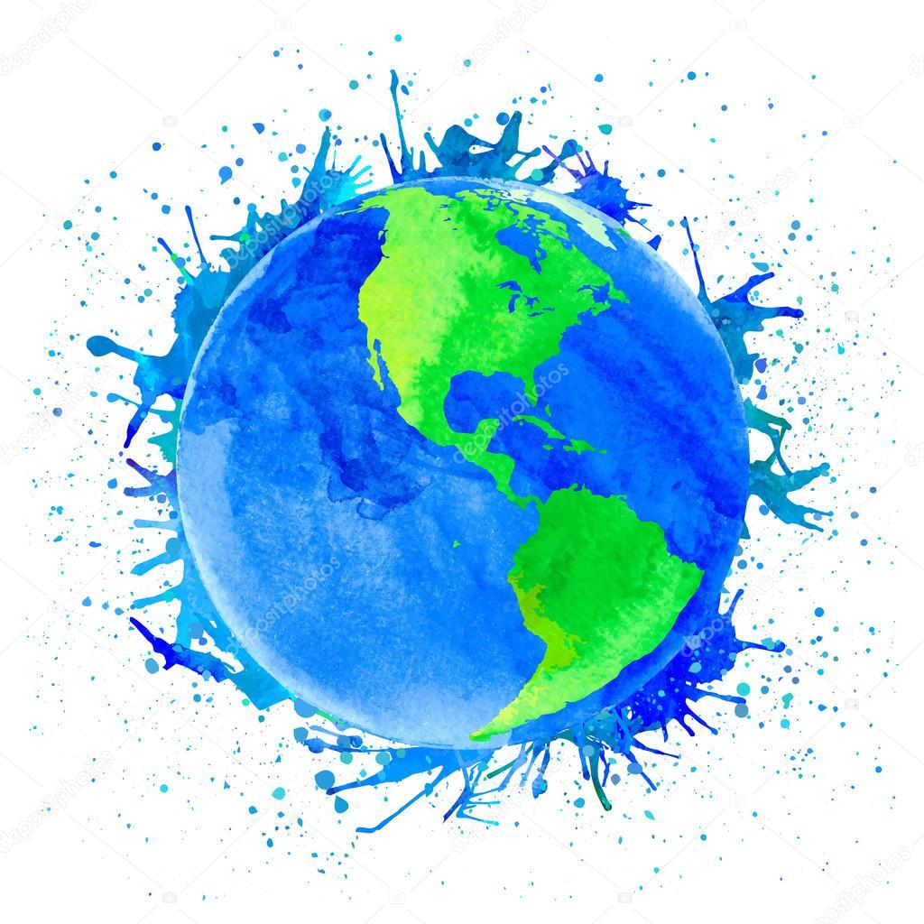 地球のベクター イラストですスポットと水しぶきと水彩風 ストック