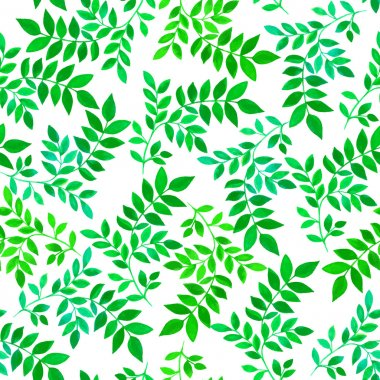 Floral seamless pattern with green leaves and branches on white background. Vectorized watercolor drawing.
