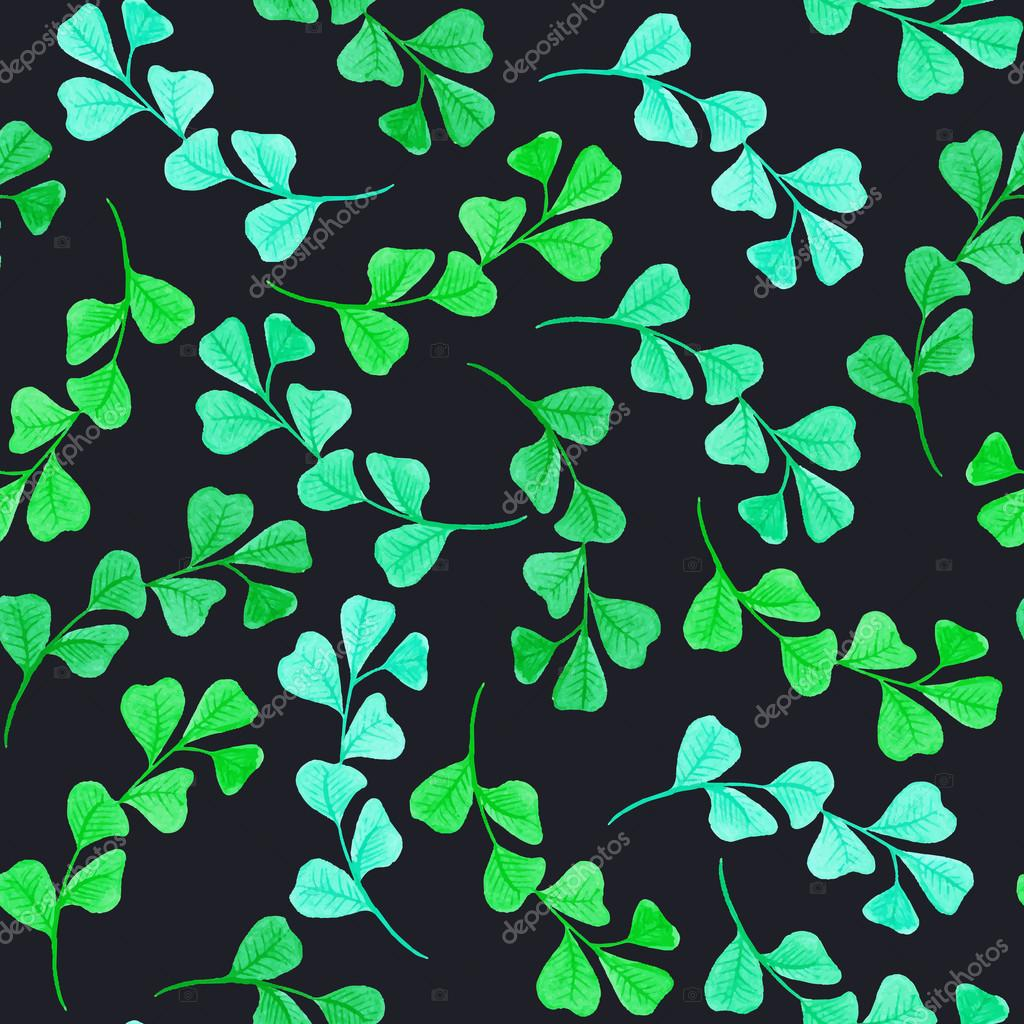 Floral seamless pattern with green leaves and branches. Vectorized watercolor drawing.
