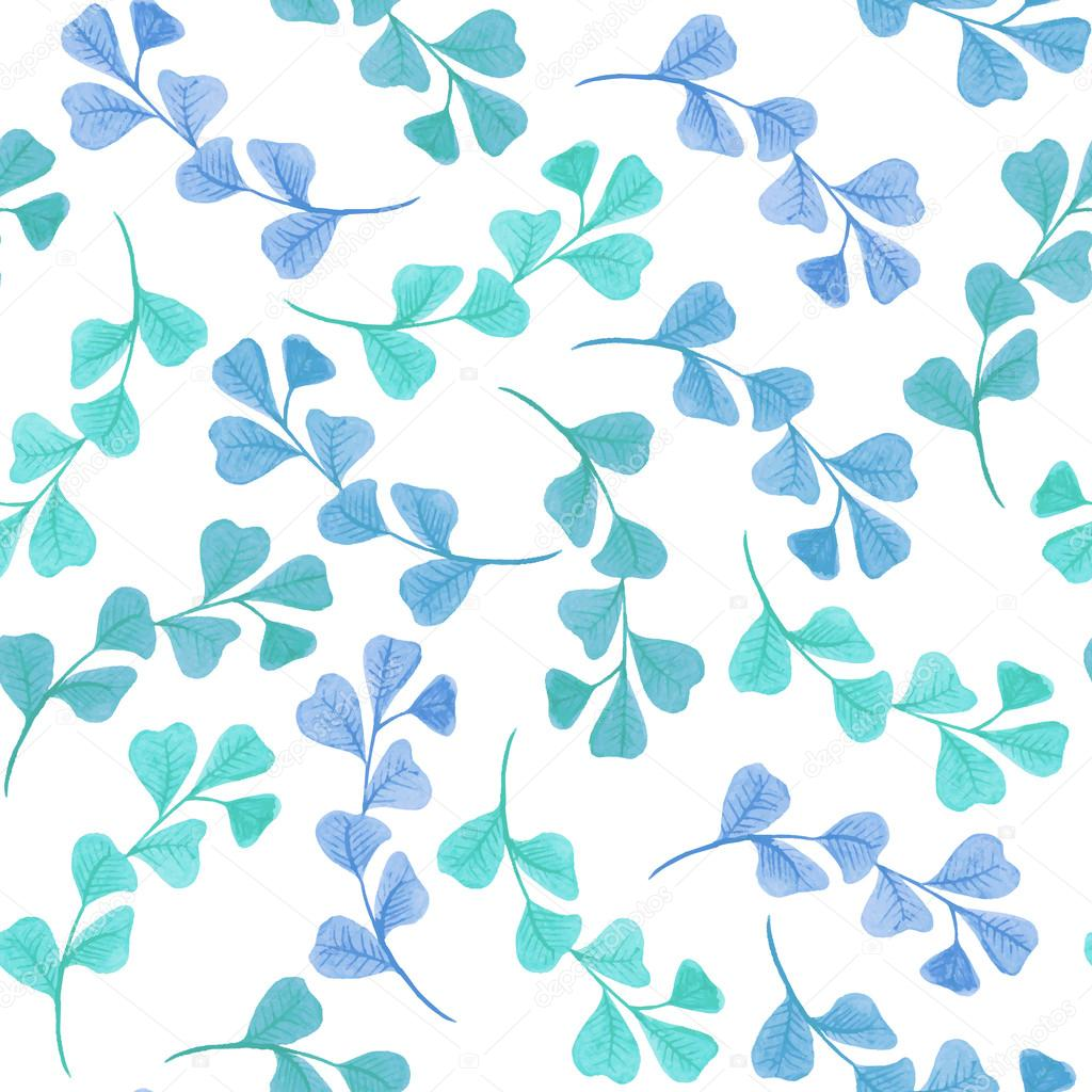 Floral seamless pattern with leaves and branches.