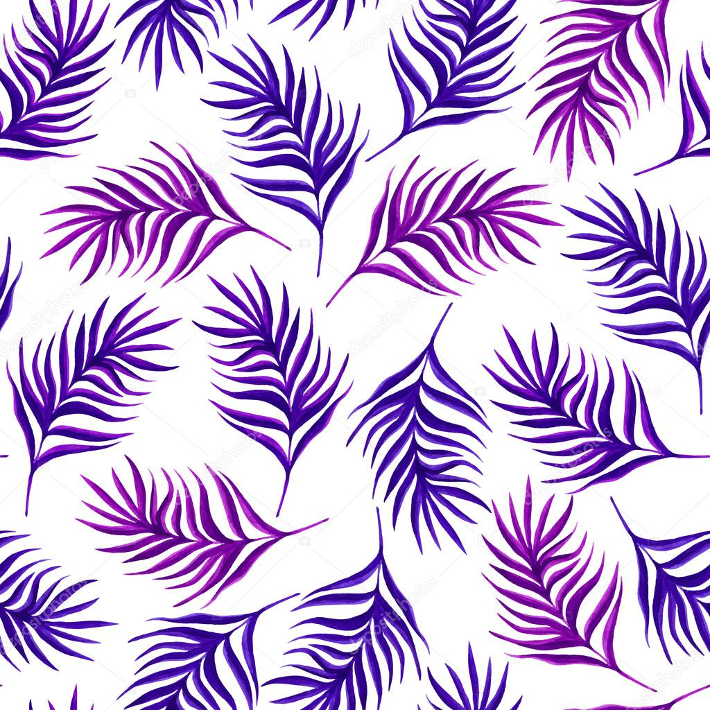 Floral seamless pattern with purple leaves and branches.